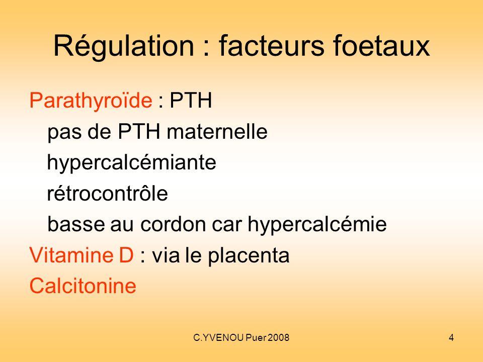 Régulation : facteurs foetaux