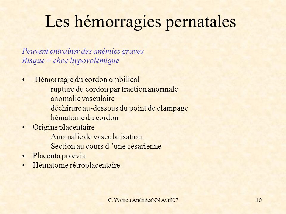 Les hémorragies pernatales
