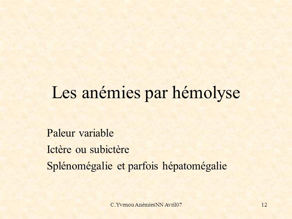 Les anémies par hémolyse