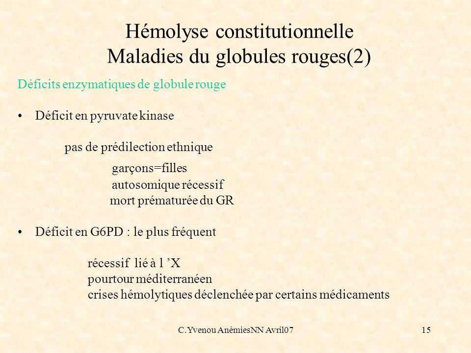 Hémolyse constitutionnelle Maladies du globules rouges(2)