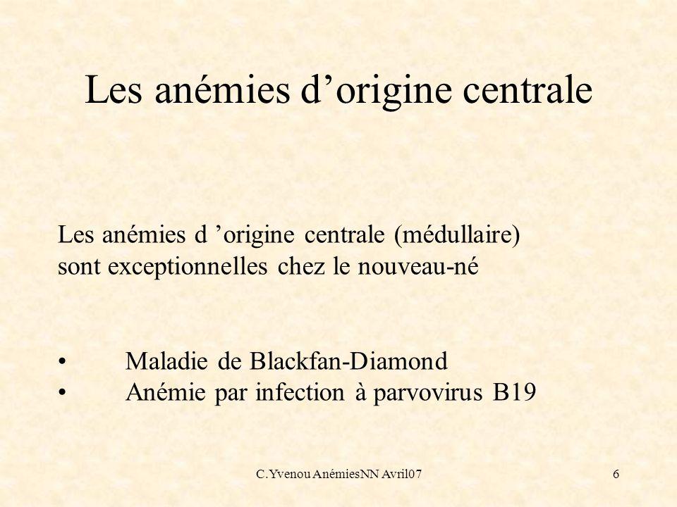 Les anémies d'origine centrale