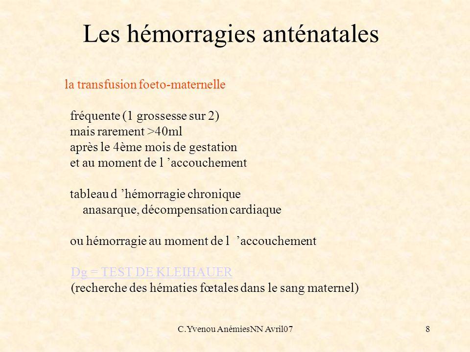 Les hémorragies anténatales