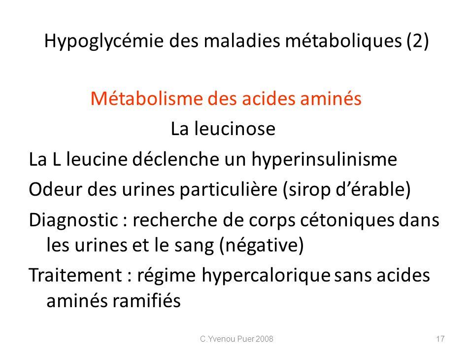 Hypoglycémie des maladies métaboliques (2)