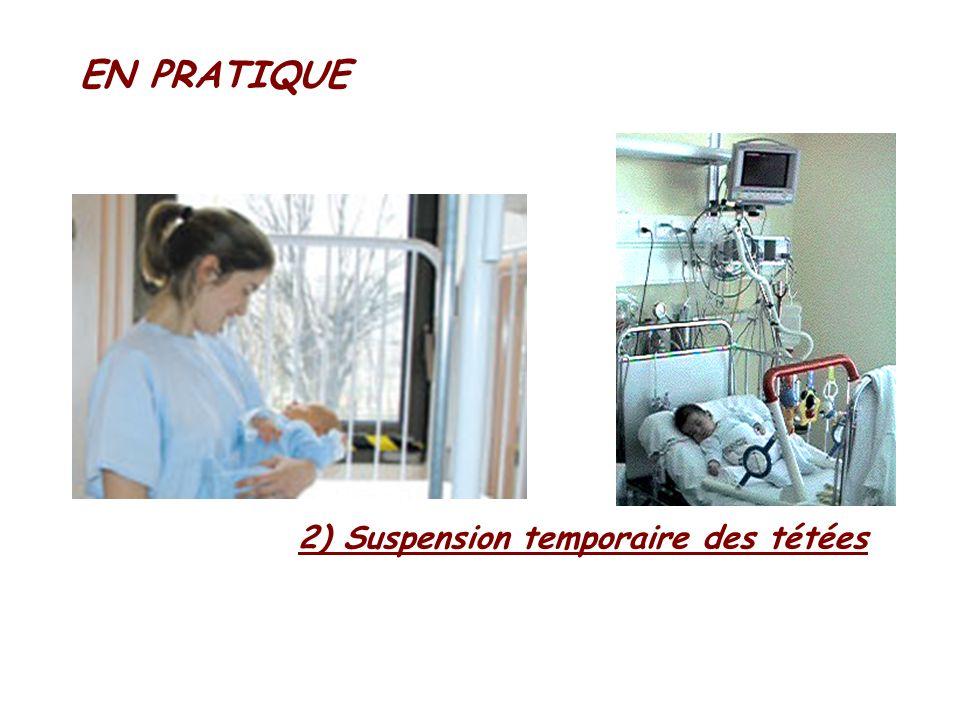 EN PRATIQUE 2) Suspension temporaire des tétées