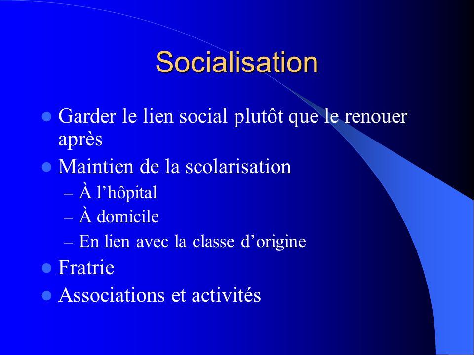 Socialisation Garder le lien social plutôt que le renouer après