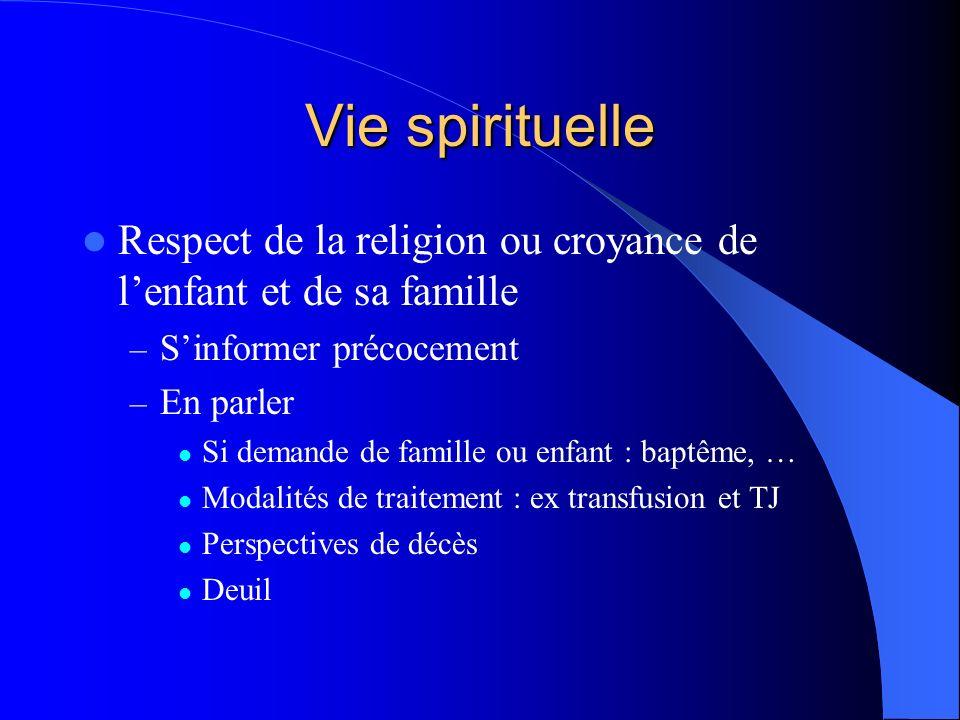Vie spirituelle Respect de la religion ou croyance de l'enfant et de sa famille. S'informer précocement.
