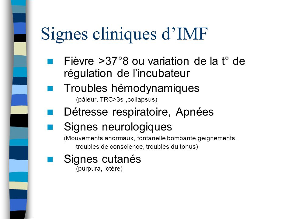 Signes cliniques d'IMF