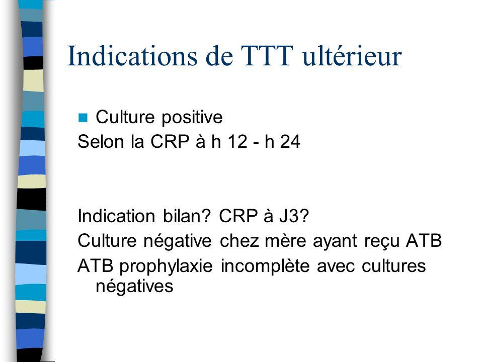 Indications de TTT ultérieur