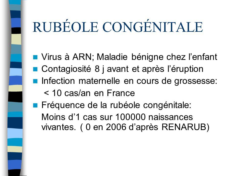 RUBÉOLE CONGÉNITALE Virus à ARN; Maladie bénigne chez l'enfant