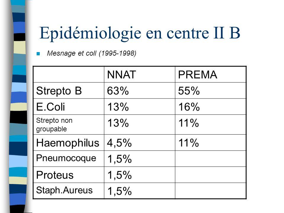 Epidémiologie en centre II B