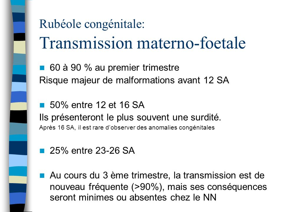 Rubéole congénitale: Transmission materno-foetale