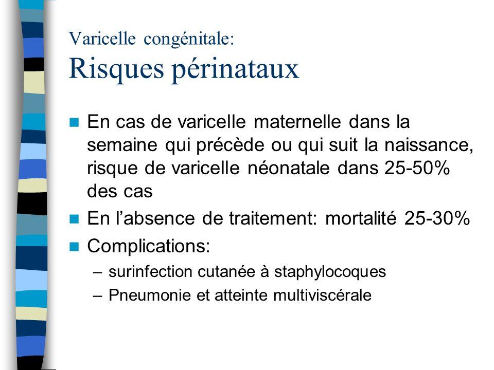 Varicelle congénitale: Risques périnataux