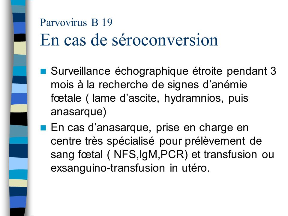Parvovirus B 19 En cas de séroconversion