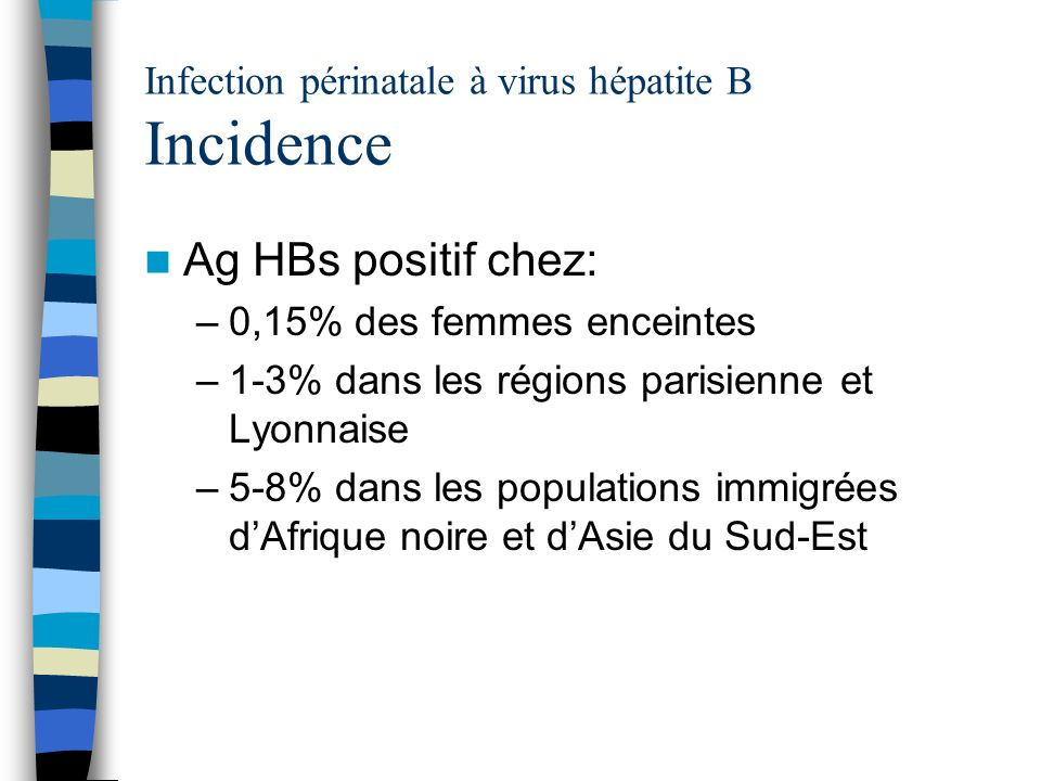Infection périnatale à virus hépatite B Incidence