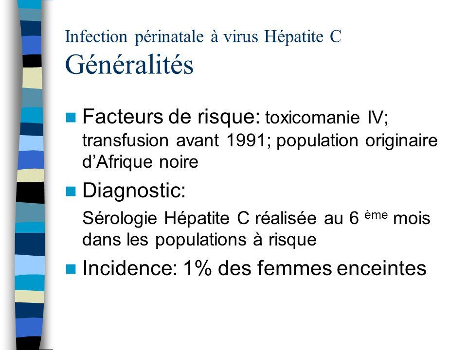 Infection périnatale à virus Hépatite C Généralités
