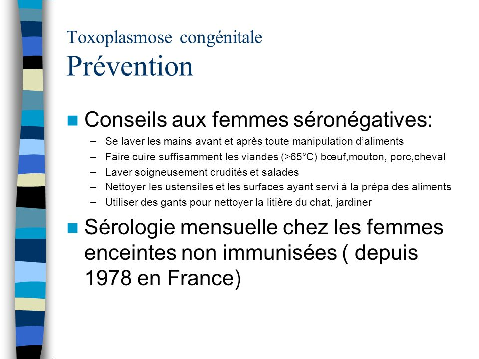 Toxoplasmose congénitale Prévention
