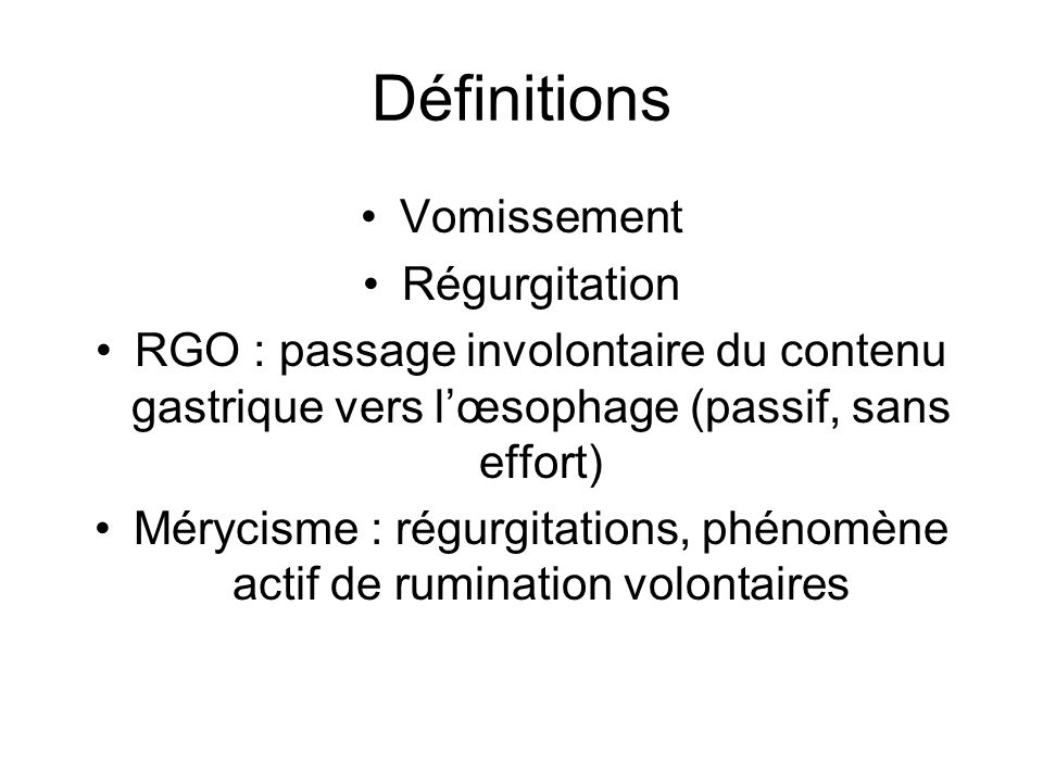Mérycisme : régurgitations, phénomène actif de rumination volontaires