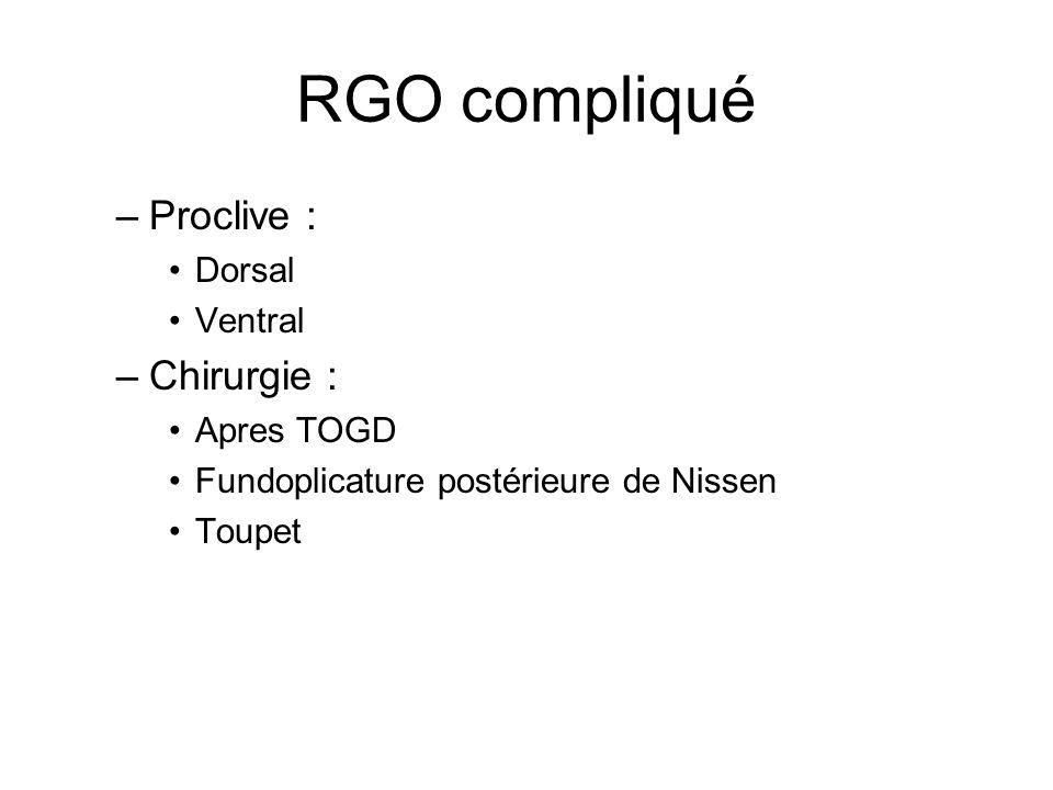 RGO compliqué Proclive : Chirurgie : Dorsal Ventral Apres TOGD