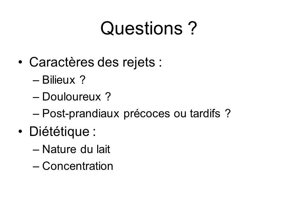 Questions Caractères des rejets : Diététique : Bilieux