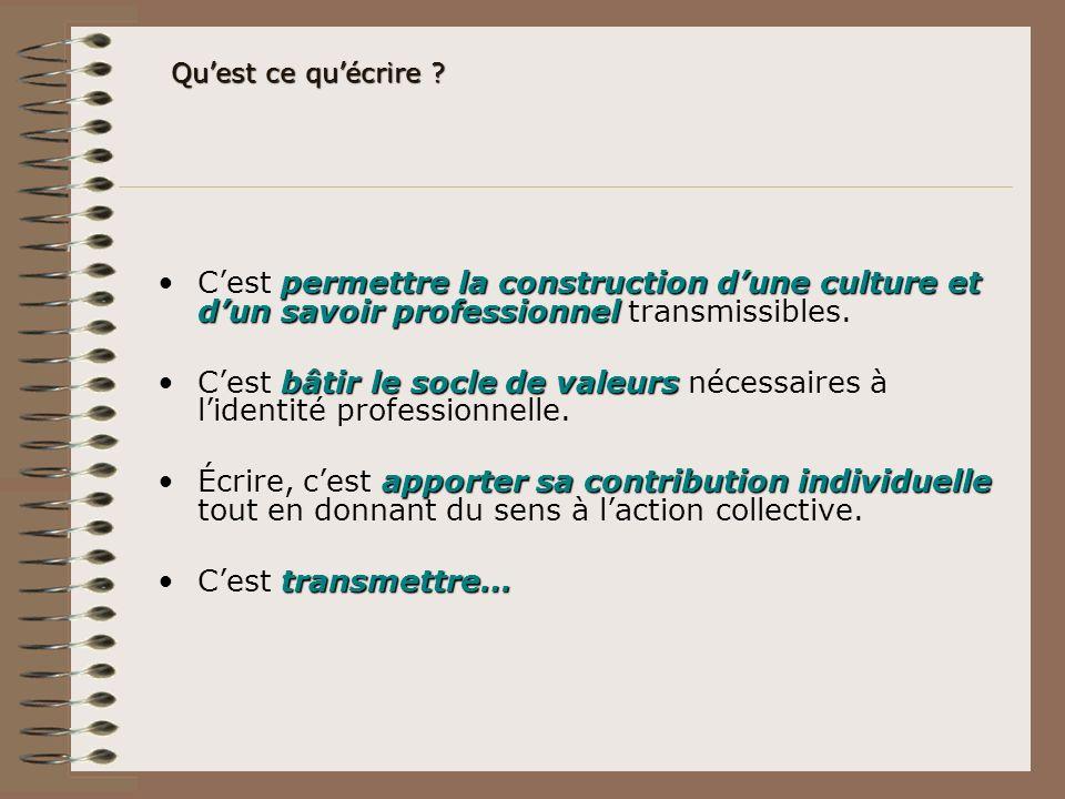 Qu'est ce qu'écrire C'est permettre la construction d'une culture et d'un savoir professionnel transmissibles.