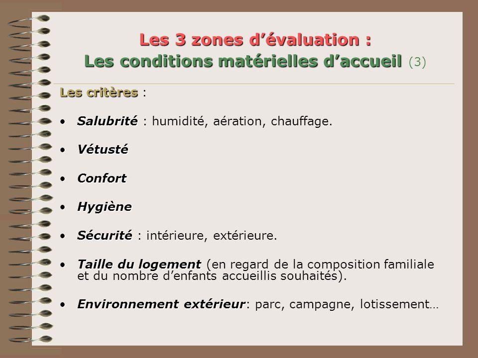 Les 3 zones d'évaluation : Les conditions matérielles d'accueil (3)