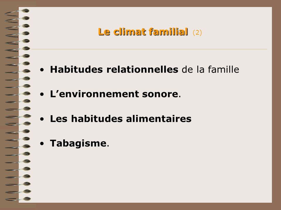 Le climat familial (2) Habitudes relationnelles de la famille. L'environnement sonore. Les habitudes alimentaires.