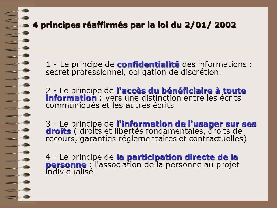 4 principes réaffirmés par la loi du 2/01/ 2002