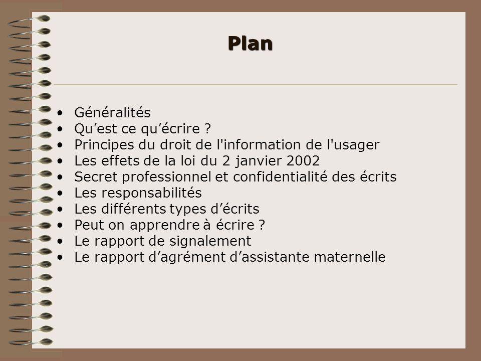Plan Généralités Qu'est ce qu'écrire