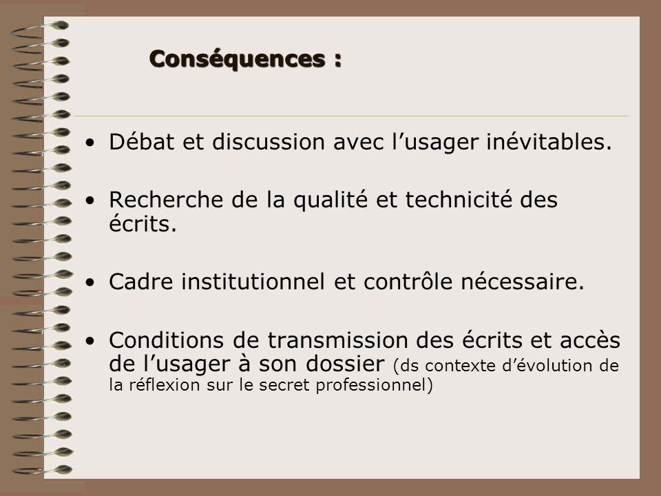 Conséquences : Débat et discussion avec l'usager inévitables. Recherche de la qualité et technicité des écrits.