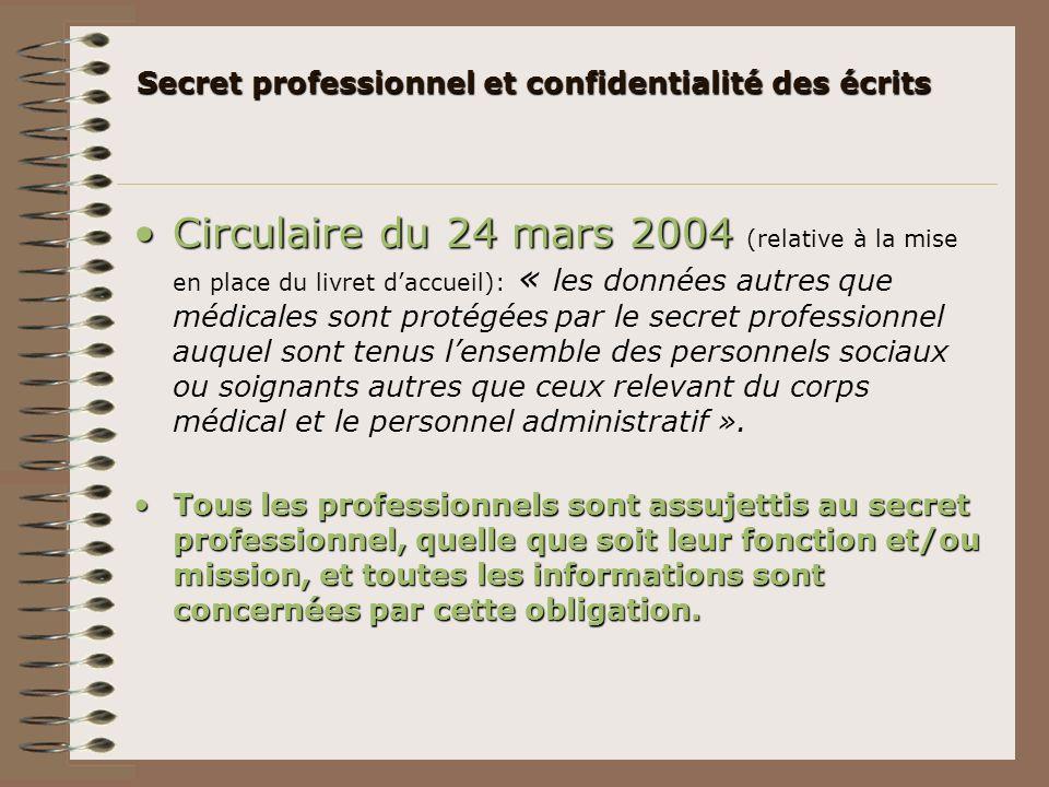 Secret professionnel et confidentialité des écrits