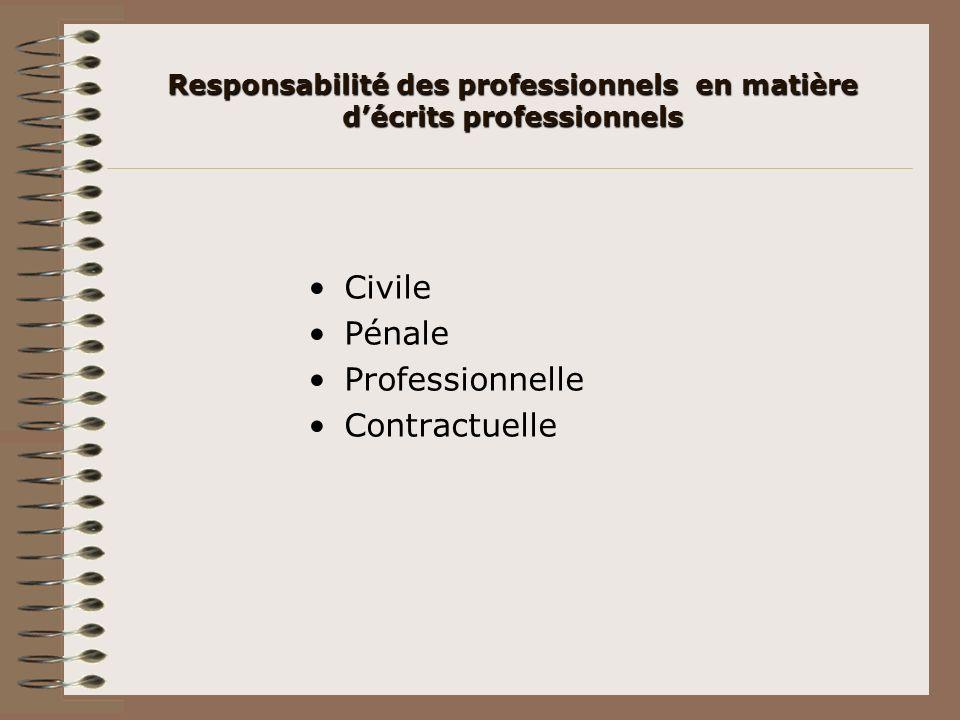 Responsabilité des professionnels en matière d'écrits professionnels