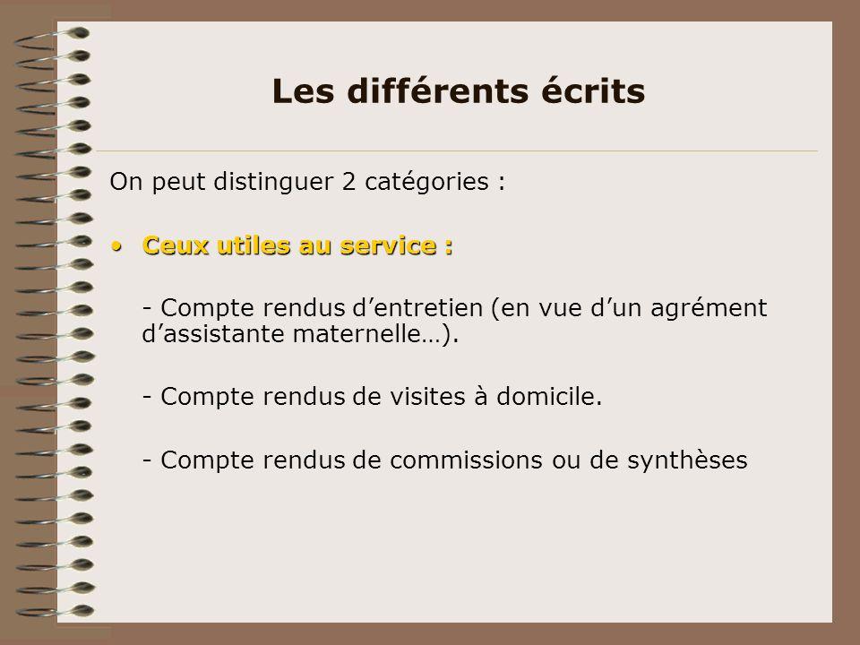 Les différents écrits On peut distinguer 2 catégories :