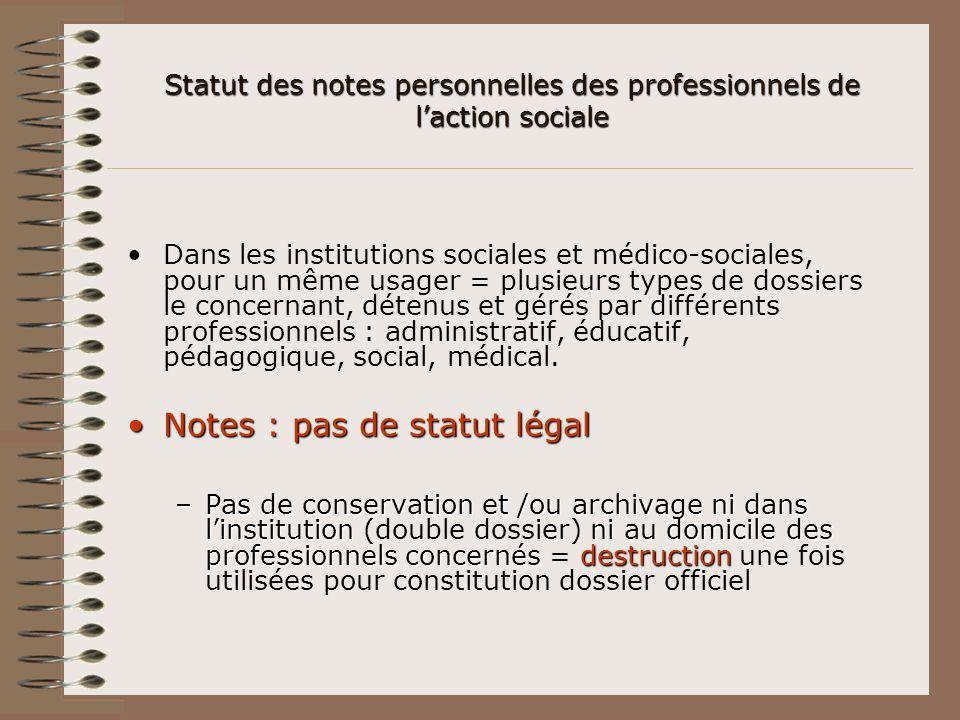 Statut des notes personnelles des professionnels de l'action sociale