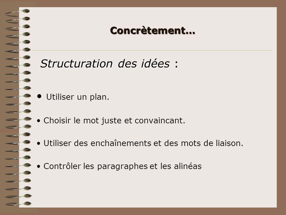Structuration des idées : • Utiliser un plan.