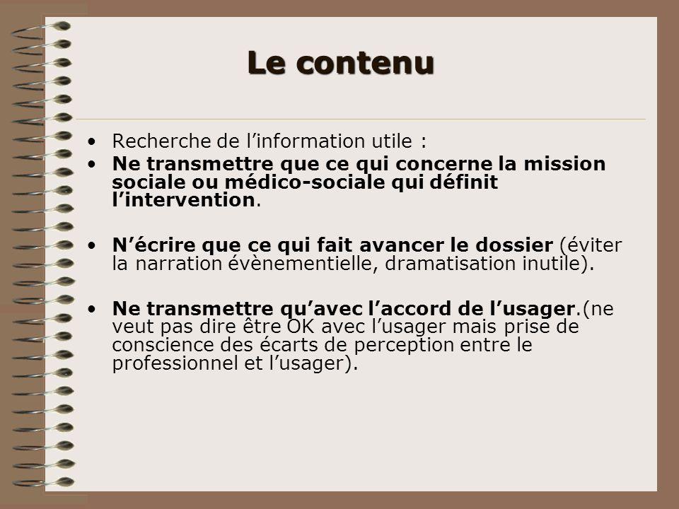 Le contenu Recherche de l'information utile :