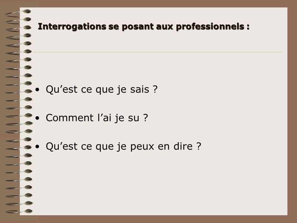 Interrogations se posant aux professionnels :