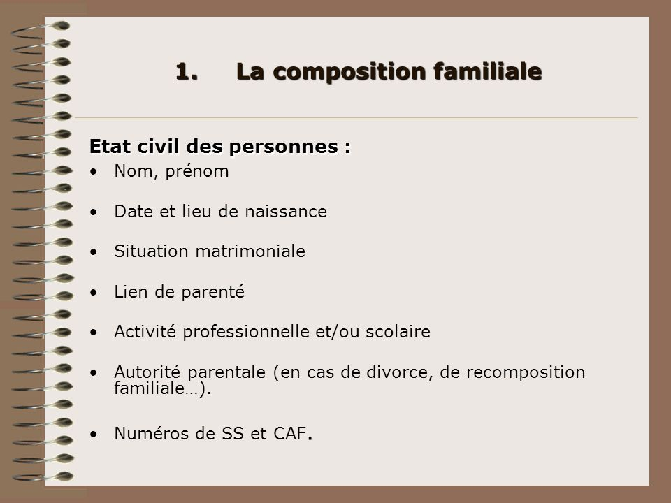 La composition familiale