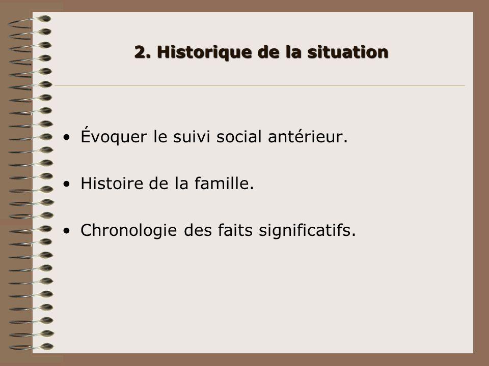 2. Historique de la situation