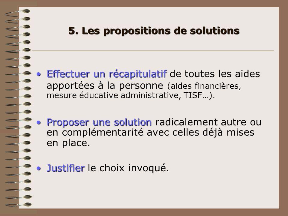 5. Les propositions de solutions