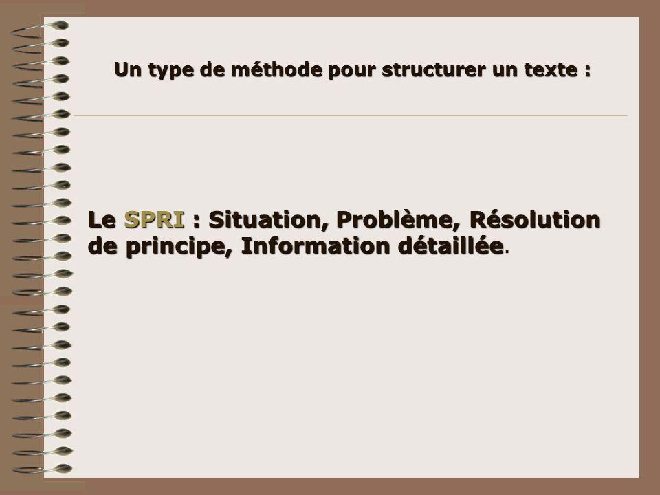 Un type de méthode pour structurer un texte :