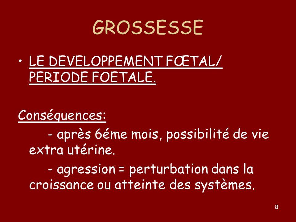 GROSSESSE LE DEVELOPPEMENT FŒTAL/ PERIODE FOETALE. Conséquences: