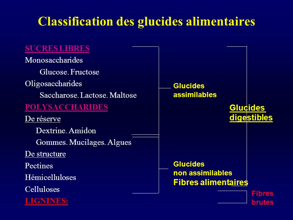 Classification des glucides alimentaires