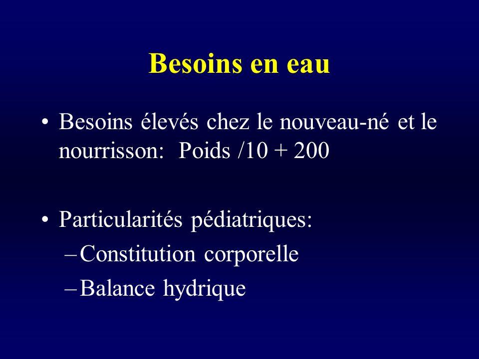 Besoins en eau Besoins élevés chez le nouveau-né et le nourrisson: Poids /10 + 200. Particularités pédiatriques: