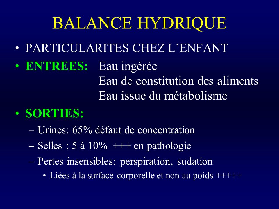 BALANCE HYDRIQUE PARTICULARITES CHEZ L'ENFANT