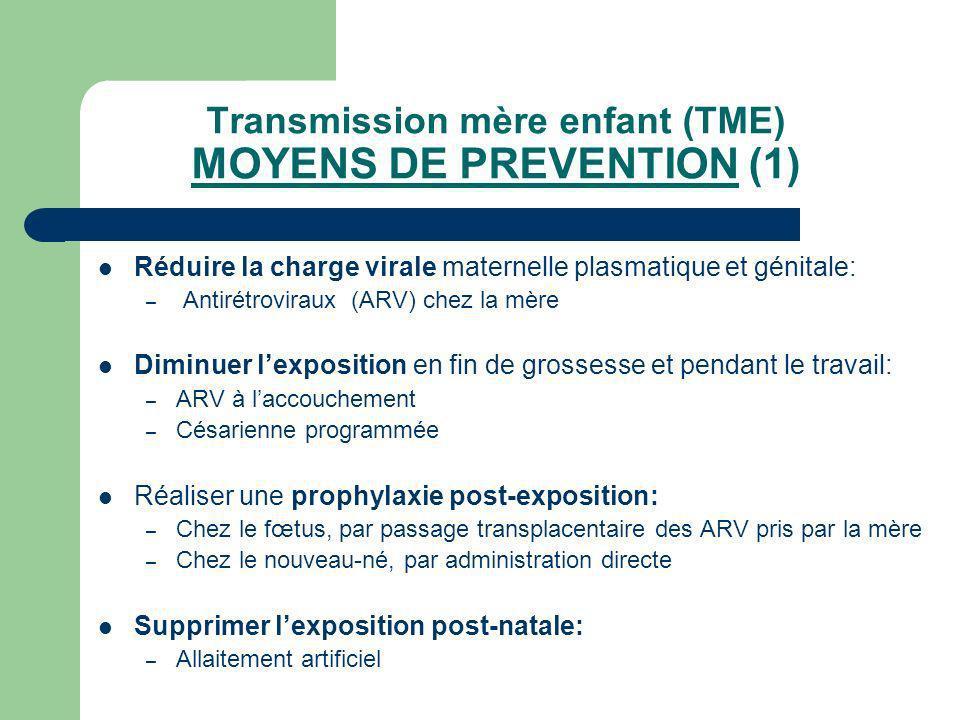 Transmission mère enfant (TME) MOYENS DE PREVENTION (1)