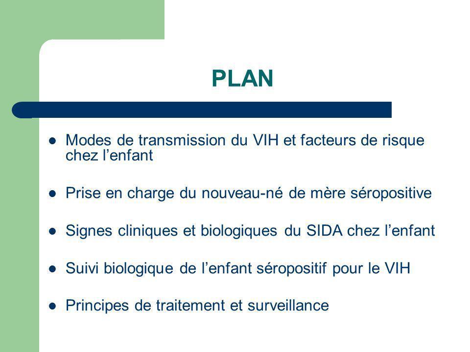 PLAN Modes de transmission du VIH et facteurs de risque chez l'enfant