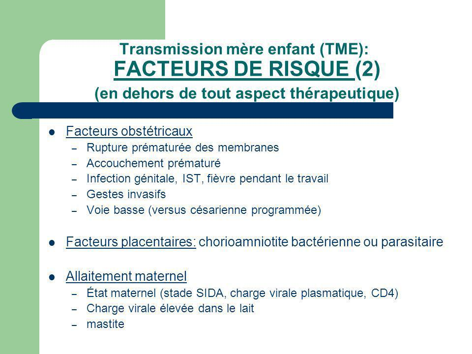 Transmission mère enfant (TME): FACTEURS DE RISQUE (2) (en dehors de tout aspect thérapeutique)