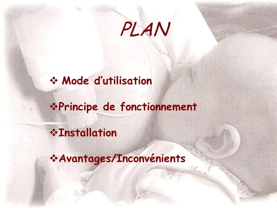 PLAN Mode d'utilisation Principe de fonctionnement Installation