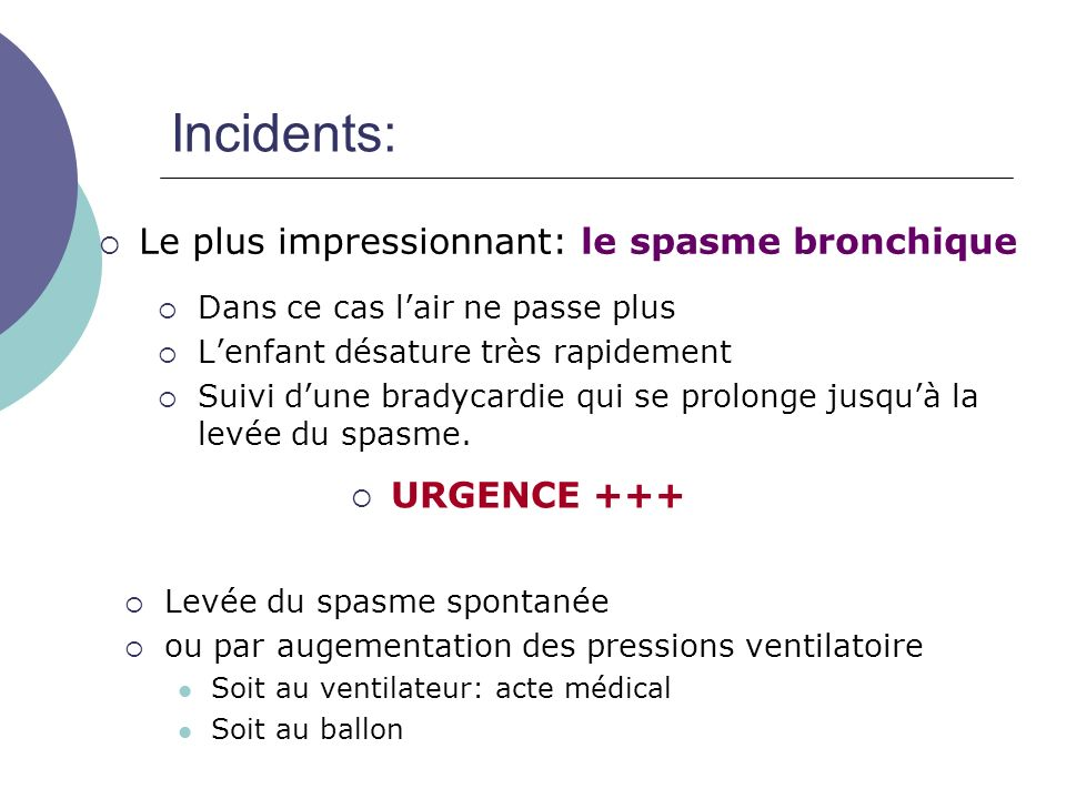 Incidents: Le plus impressionnant: le spasme bronchique URGENCE +++
