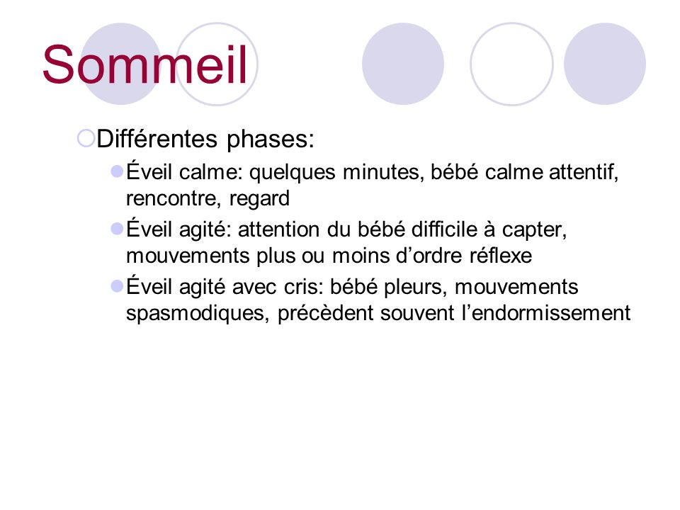 Sommeil Différentes phases: